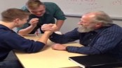 70-year-old teacher beats student at arm wrestling