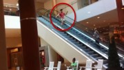 Chinese Guy Slides Down Escalator FAIL