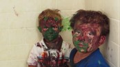 Father Laughs At Kids with Painted faces